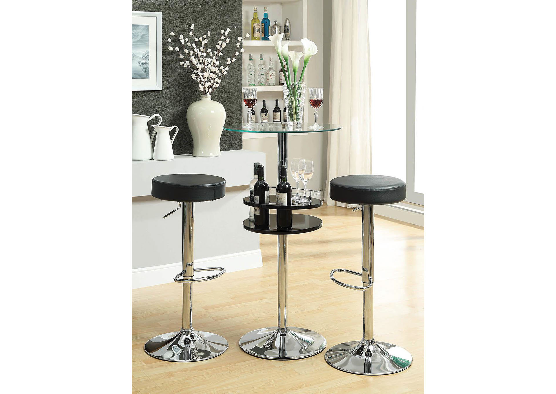 Black & Chrome 24in Stool,Coaster Furniture