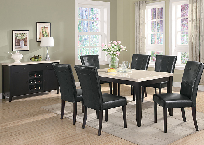 Anisa Cappuccino Dining Table w/ 6 Side Chairs,Coaster Furniture