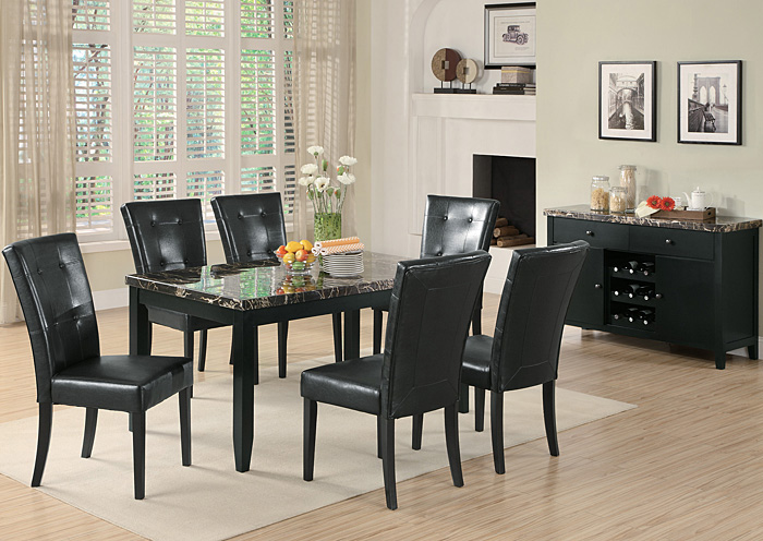 Anisa Black Dining Table W/6 Side Chairs,Coaster Furniture