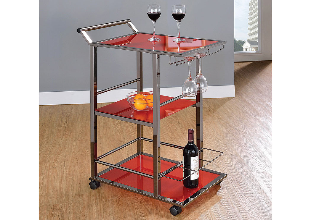 Red Serving Cart,Coaster Furniture