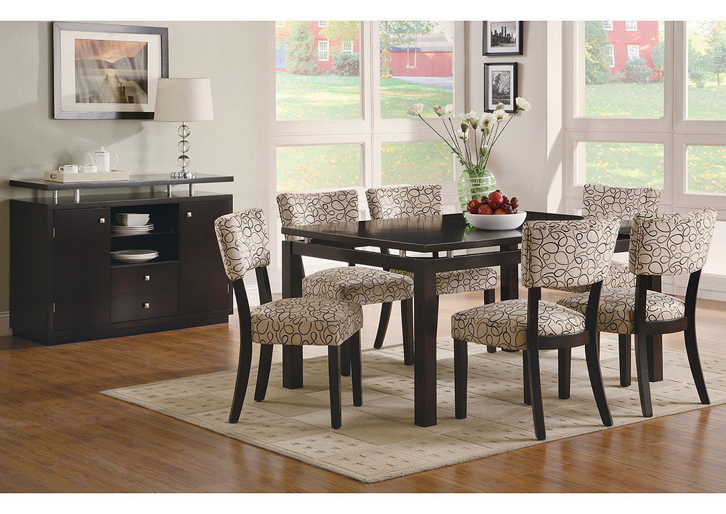 Libby Cappuccino Dining Table W/6 Side Chairs U0026 Server,Coaster Furniture