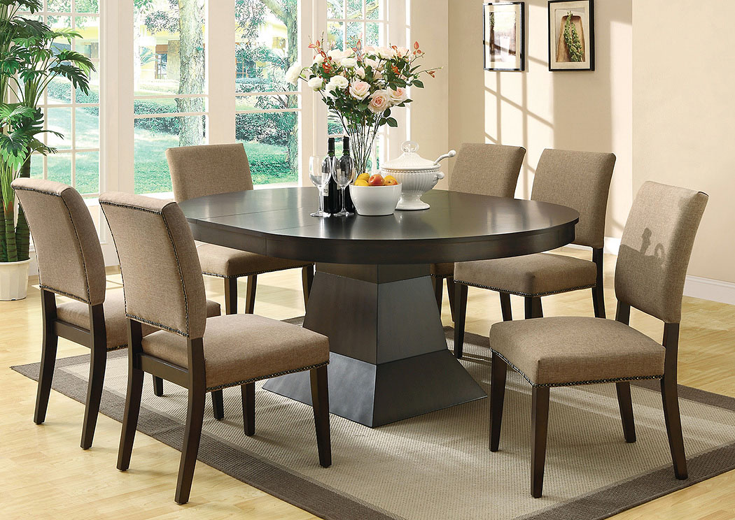 Coffee Dining Table w/6 Side Chairs,Coaster Furniture