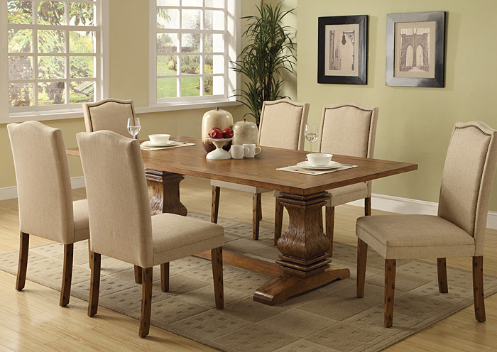 Merveilleux Coffee Dining Table W/6 Ivory Parson Chairs,Coaster Furniture