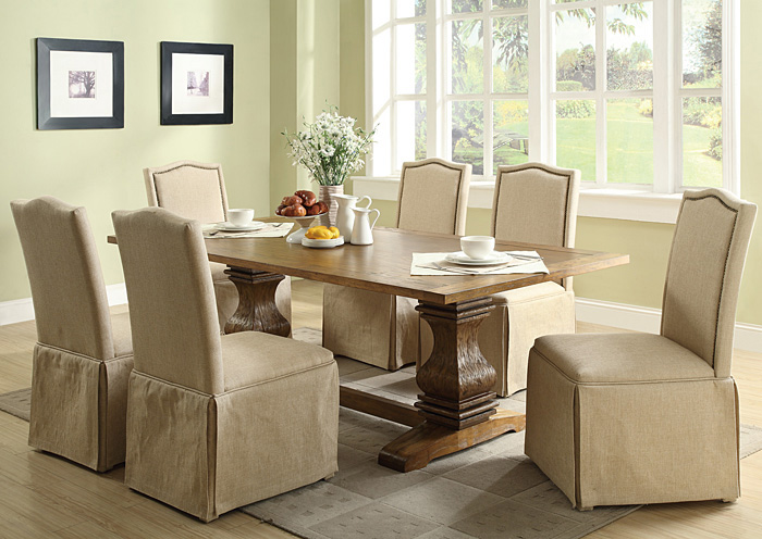 Elegant Coffee Dining Table W/6 Ivory Parson Chairs W/Skirt,Coaster Furniture