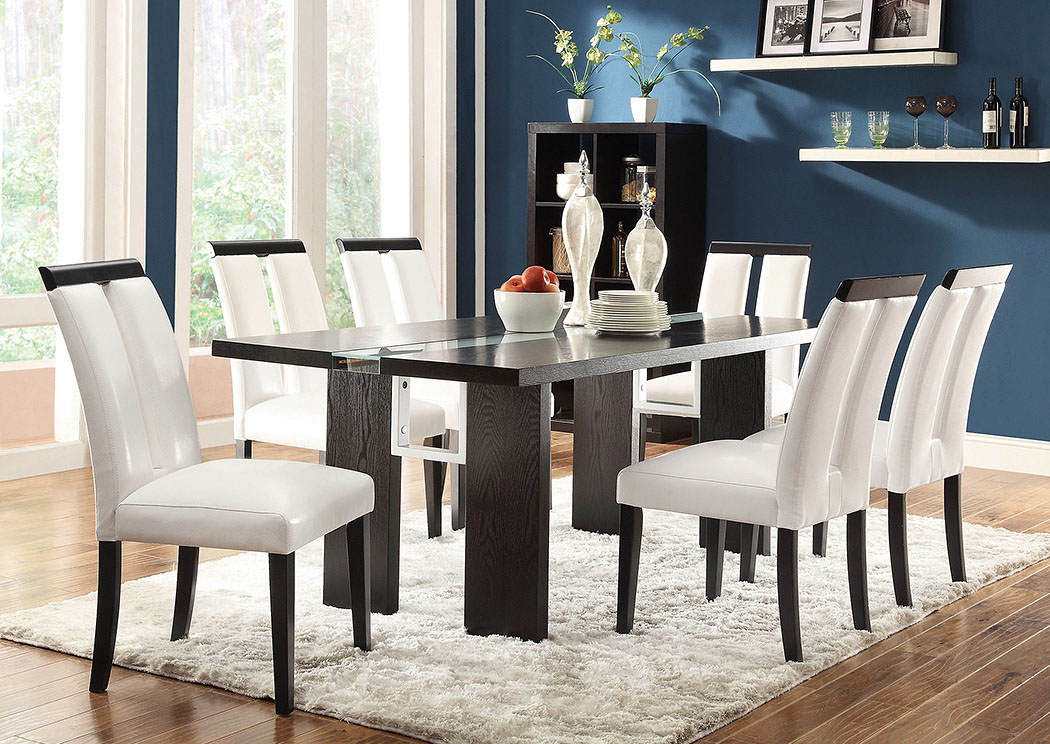 Kenneth Black Dining Table W 6 Cream Vinyl Side ChairsCoaster Furniture