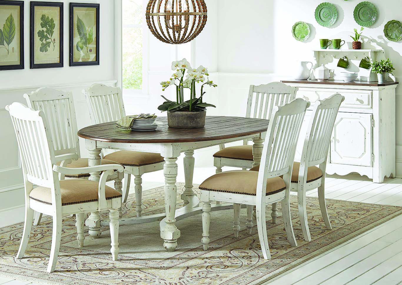 Vintage White Oval Dining Table w/4 Side Chairs,Coaster Furniture