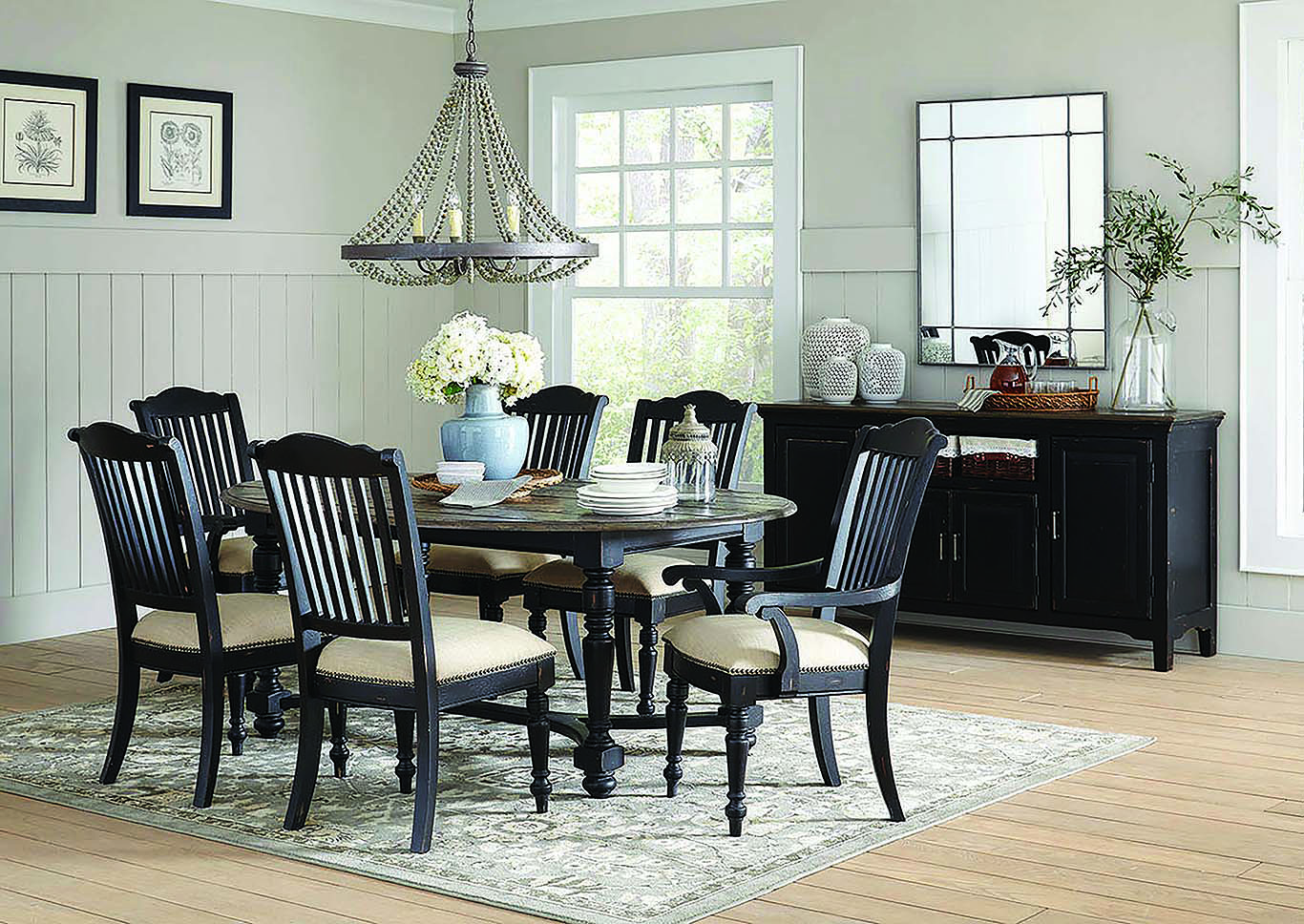 Vintage Black/Latte Oval 7pc Dining Table w/4 Side Chairs & 2 Arm Chairs,Coaster Furniture