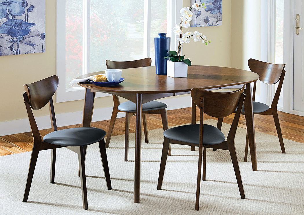 Walnut Dining Table w/4 Chairs,Coaster Furniture