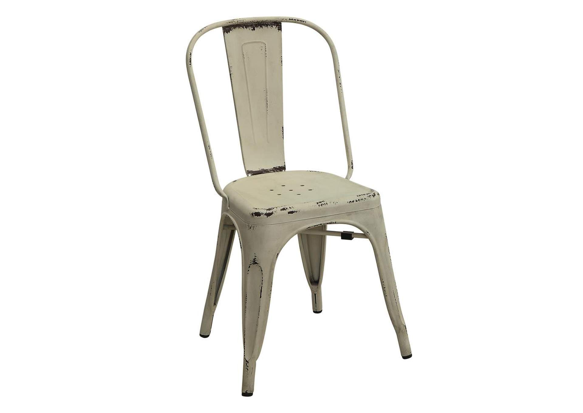 White Bellevue Rustic White Side Dining Chair [Set of 4],Coaster Furniture