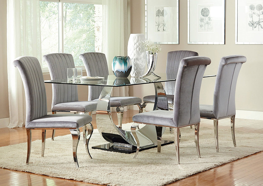 Chrome Plated Dining Table W/4 Side Chairs,Coaster Furniture