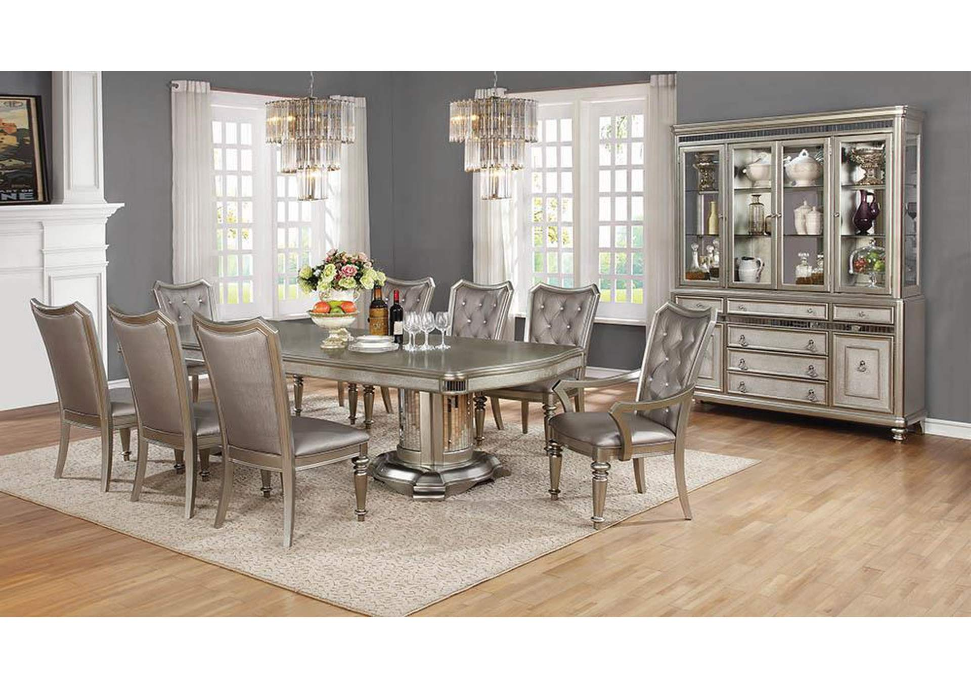 Danette Metallic Platinum Dining Table,Coaster Furniture