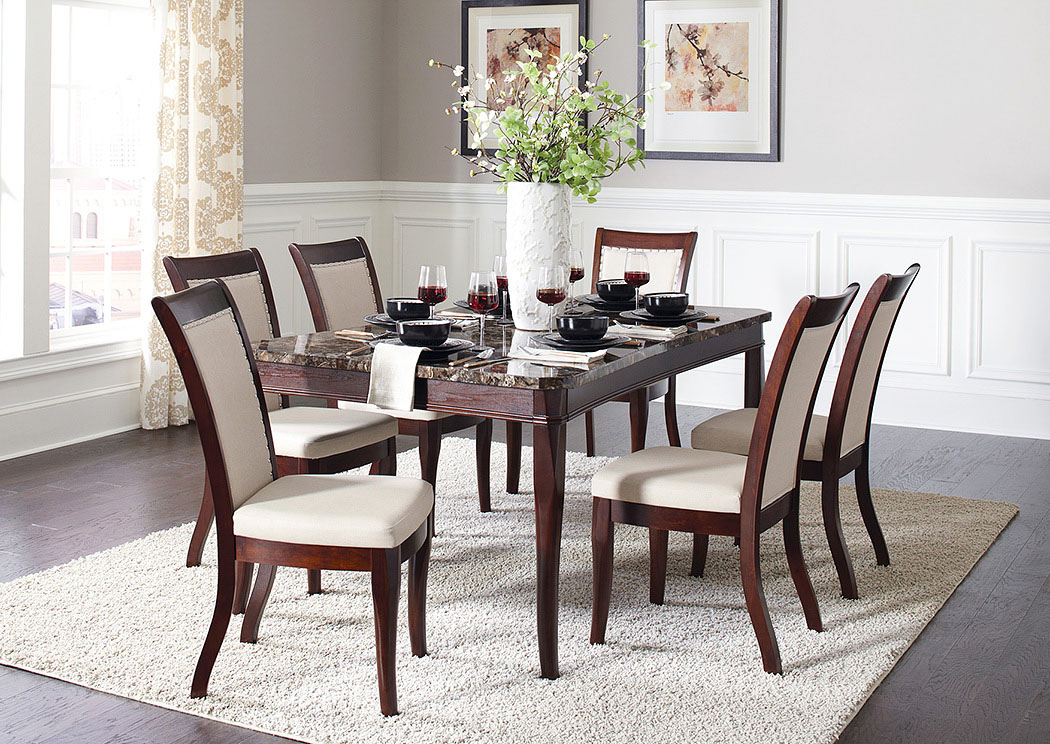 Dark Brown Dining Table w/4 Side Chairs,Coaster Furniture
