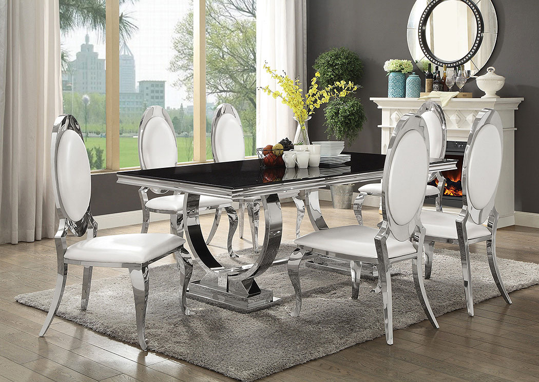 Antoine Hollywood Glam Silver Dining Table,Coaster Furniture