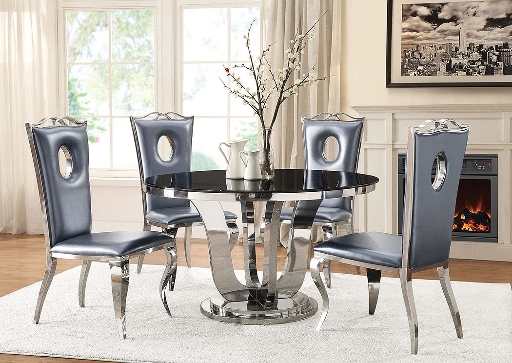 Ordinaire Black/Chrome Dining Table,Coaster Furniture