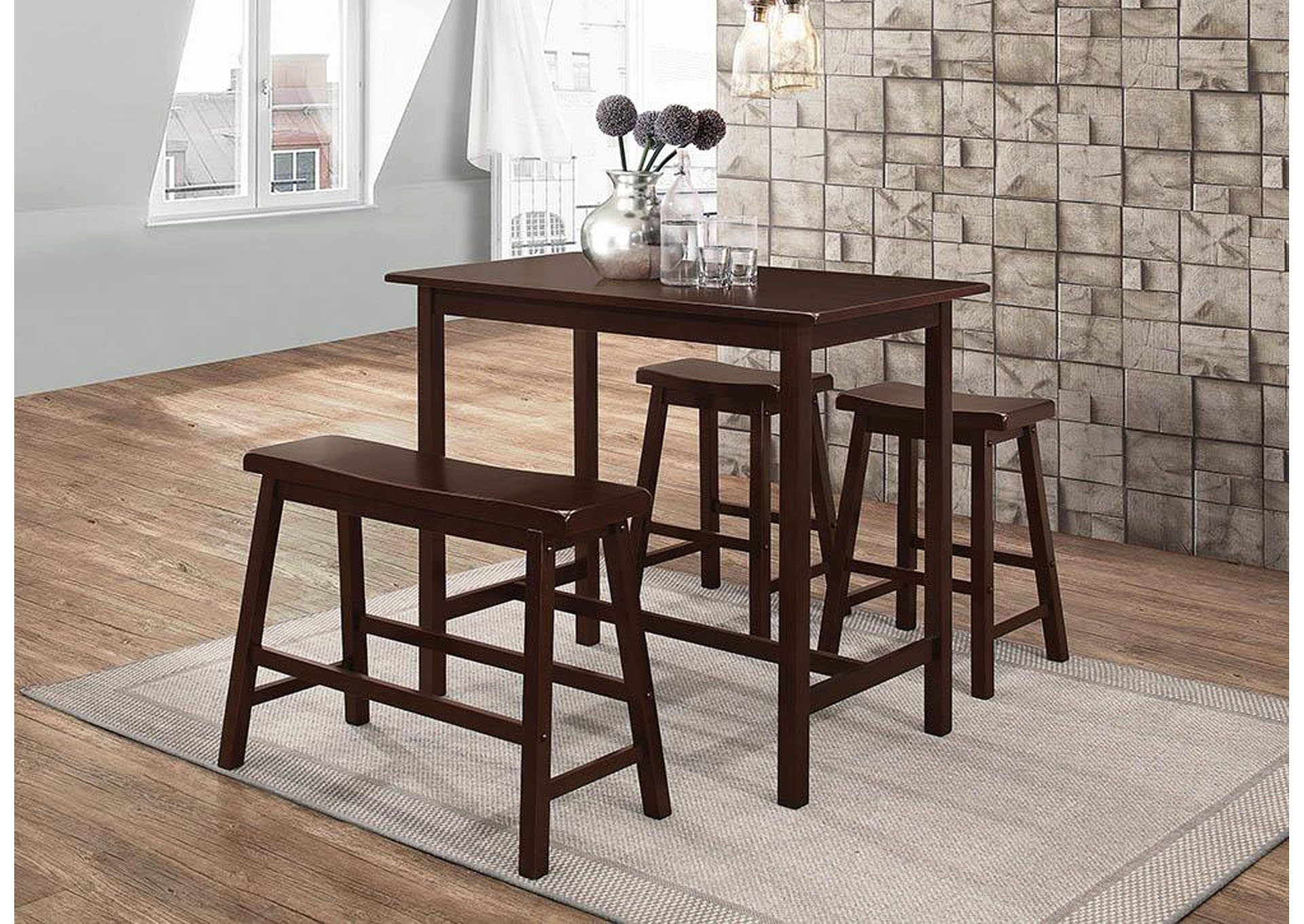 Cappuccino 4 Piece Counter Height Dining Set,Coaster Furniture