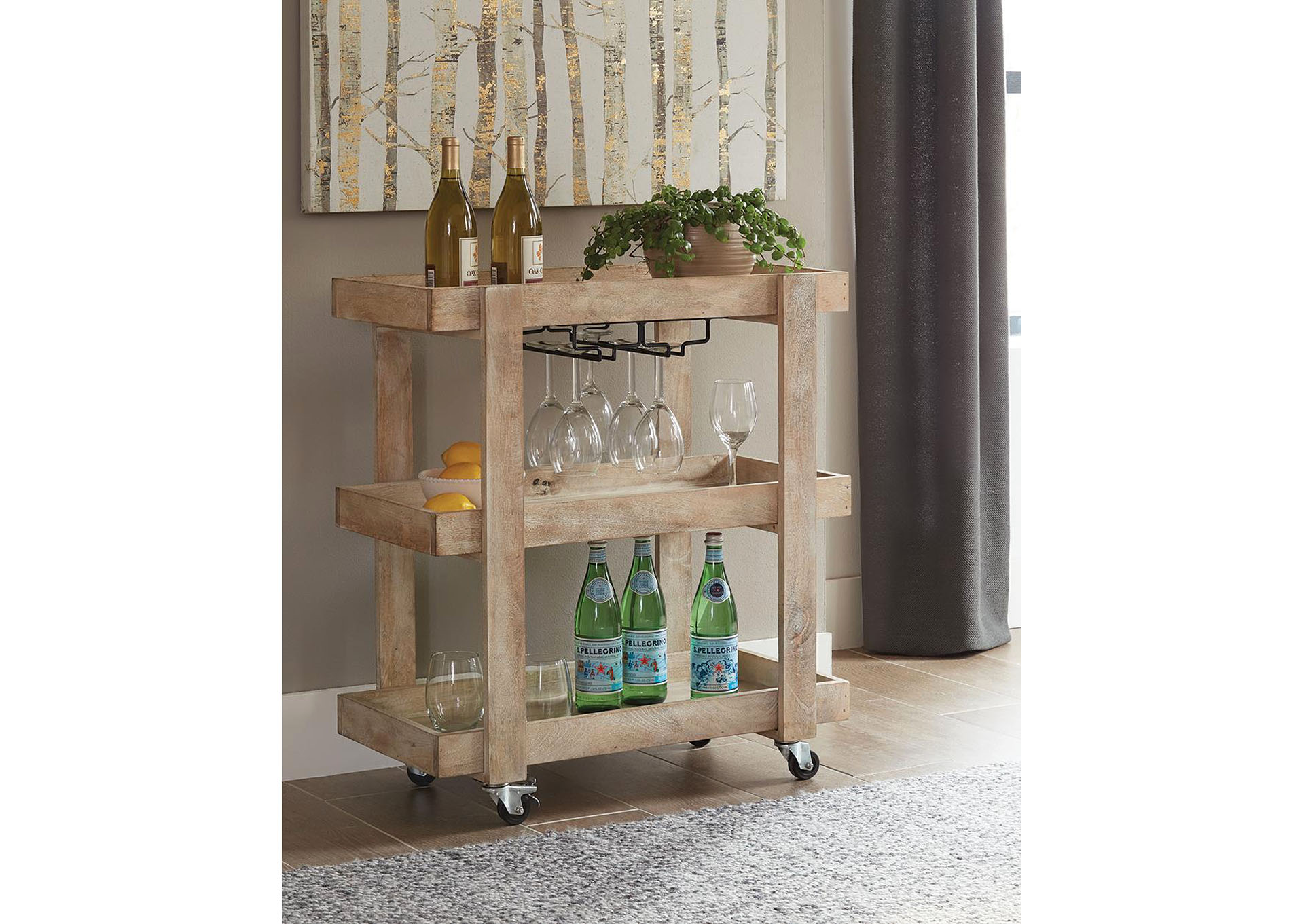 Sandblasted White Serving Cart,Coaster Furniture