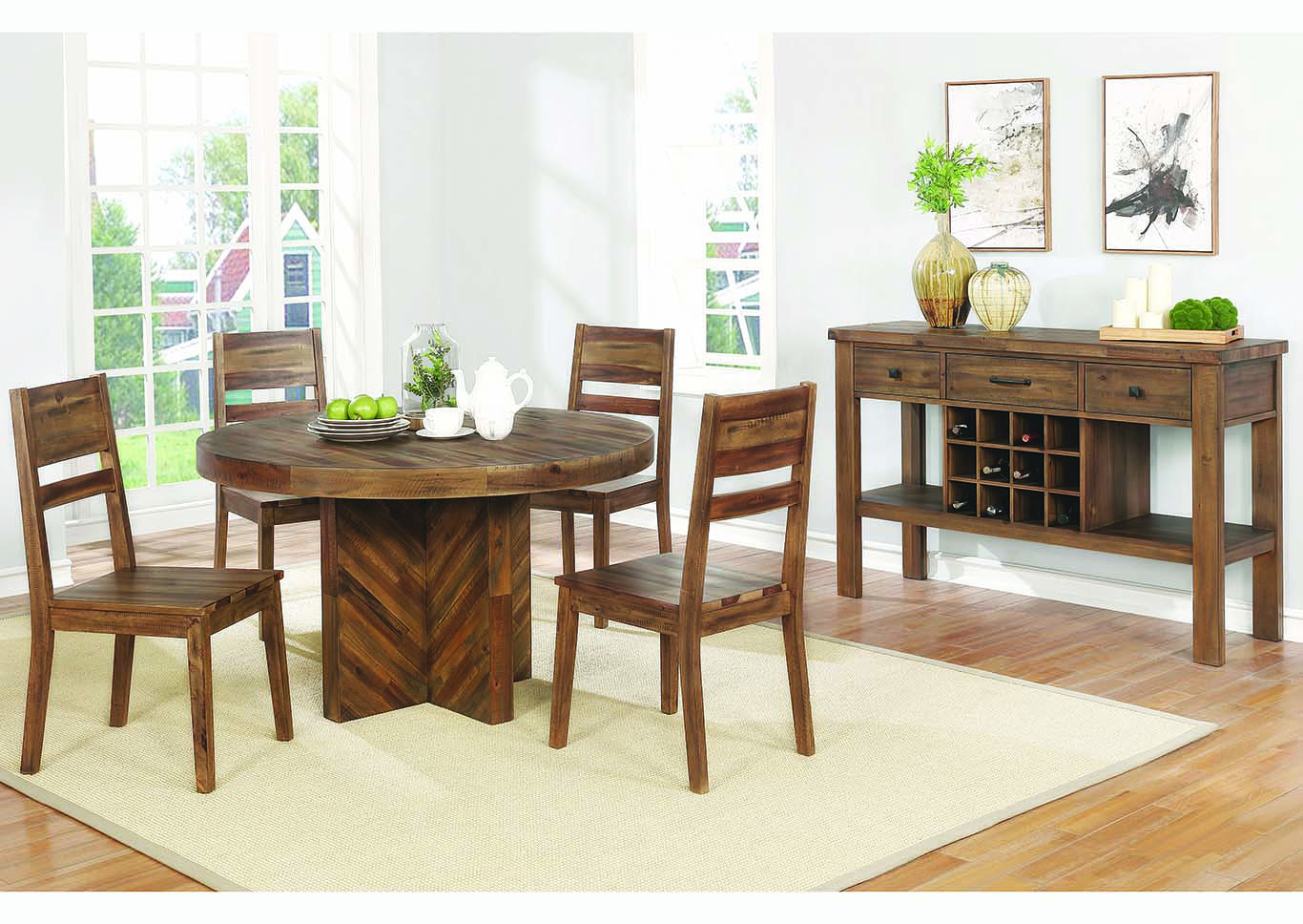 Varied Natural Round Dining Table w/4 Side Chairs,Coaster Furniture
