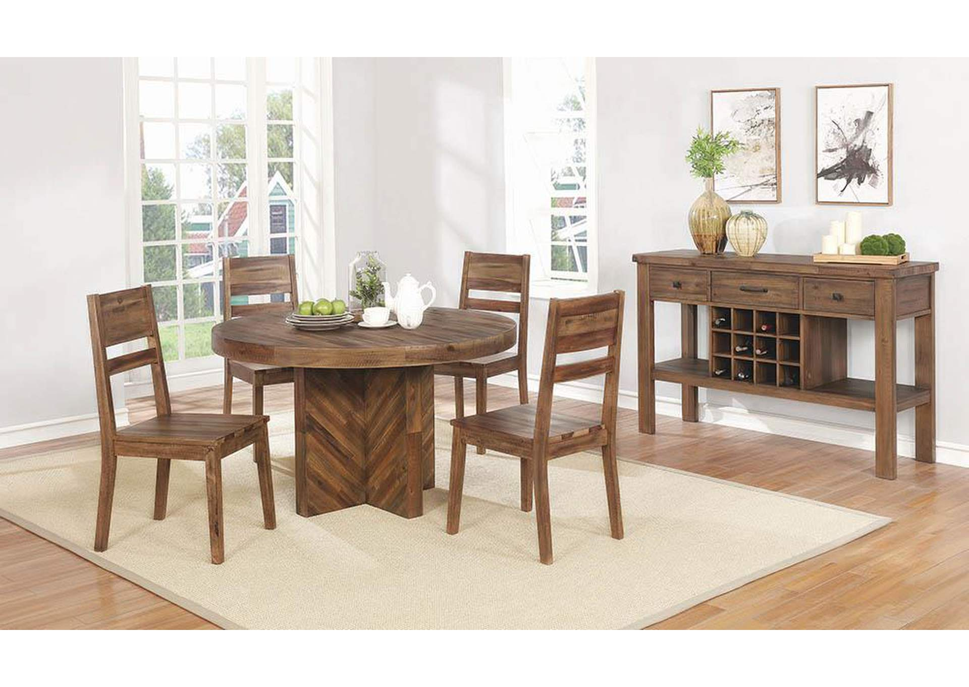 Tucson Rustic Varied Natural Round Dining Table,Coaster Furniture