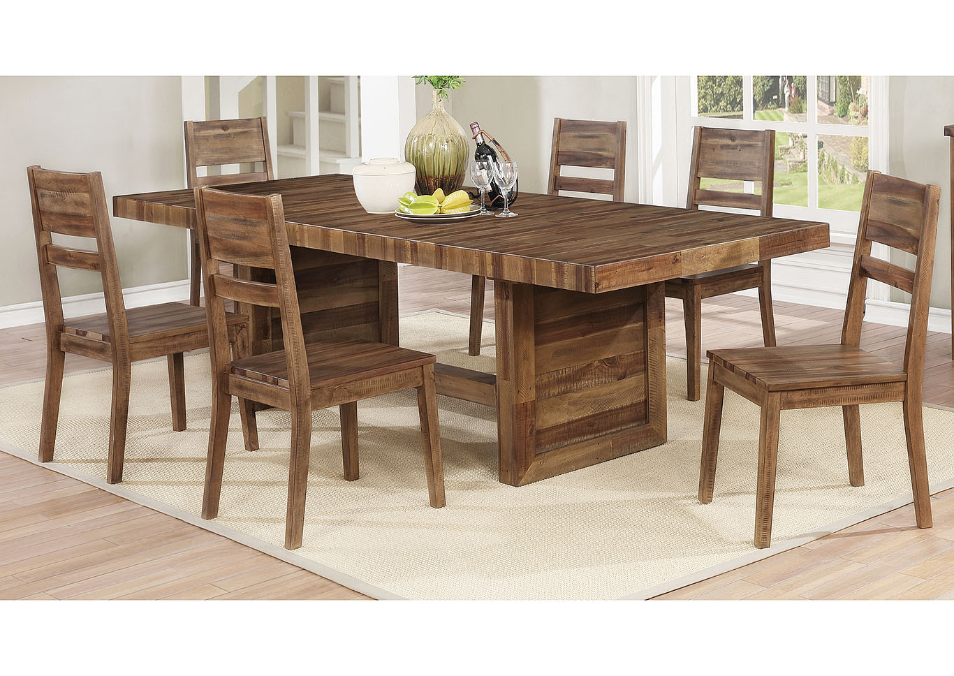 Tucson Rustic Varied Natural Dining Table,Coaster Furniture