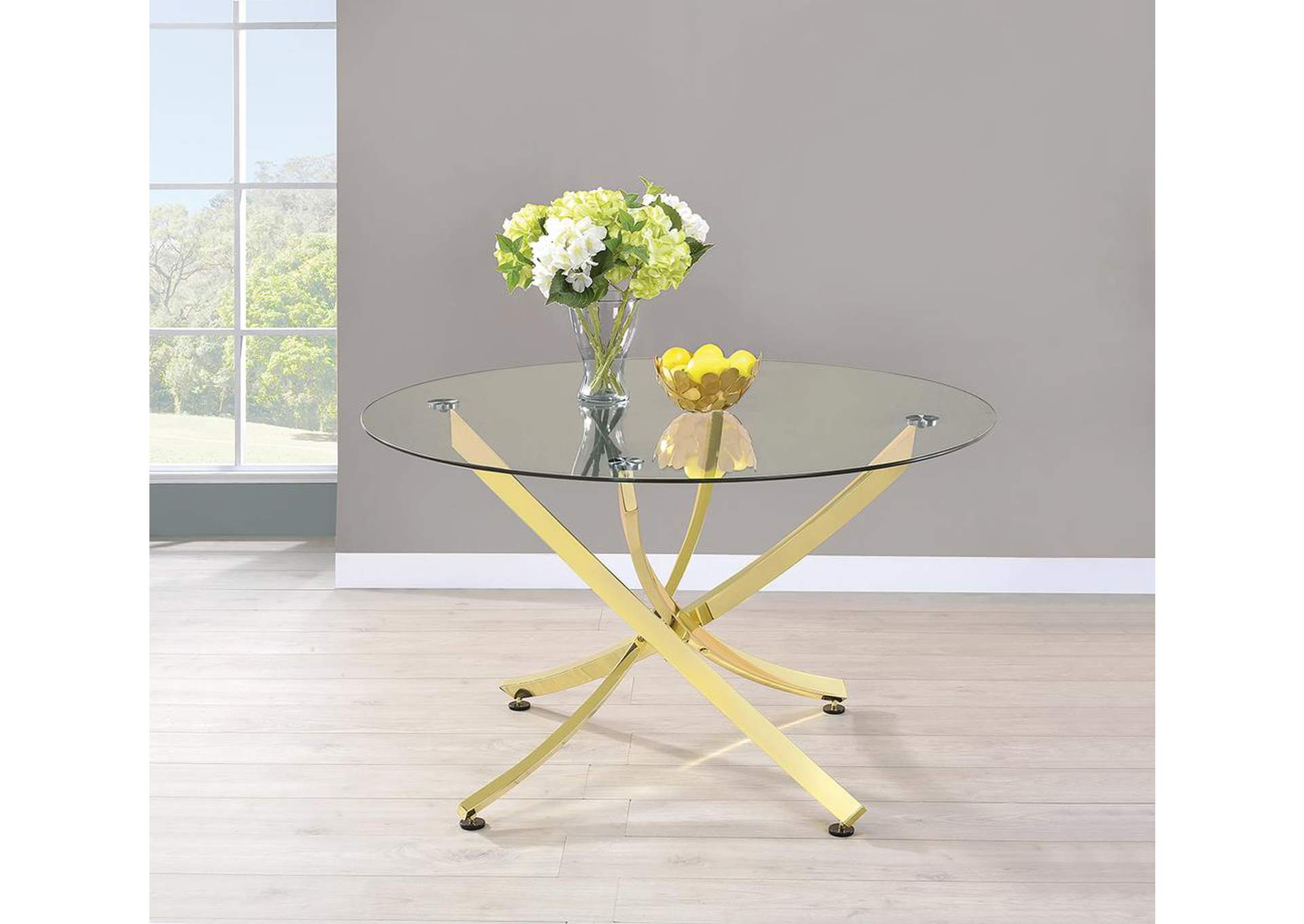 Chanel Brass Dining Table,Coaster Furniture
