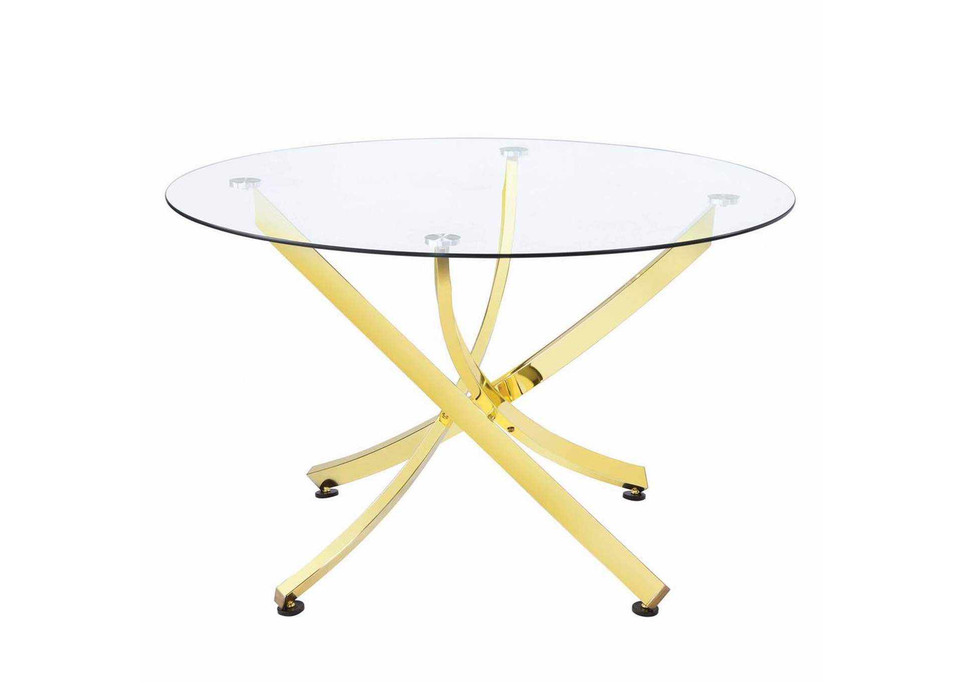 White Lilac Chanel Modern Brass Dining Table,Coaster Furniture