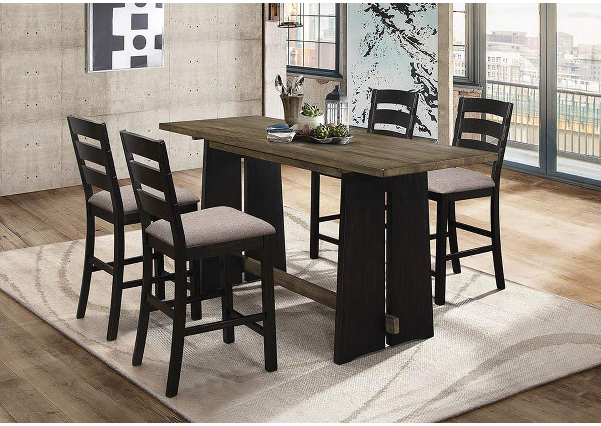 Oakley Khaki and Black Counter Table,Coaster Furniture