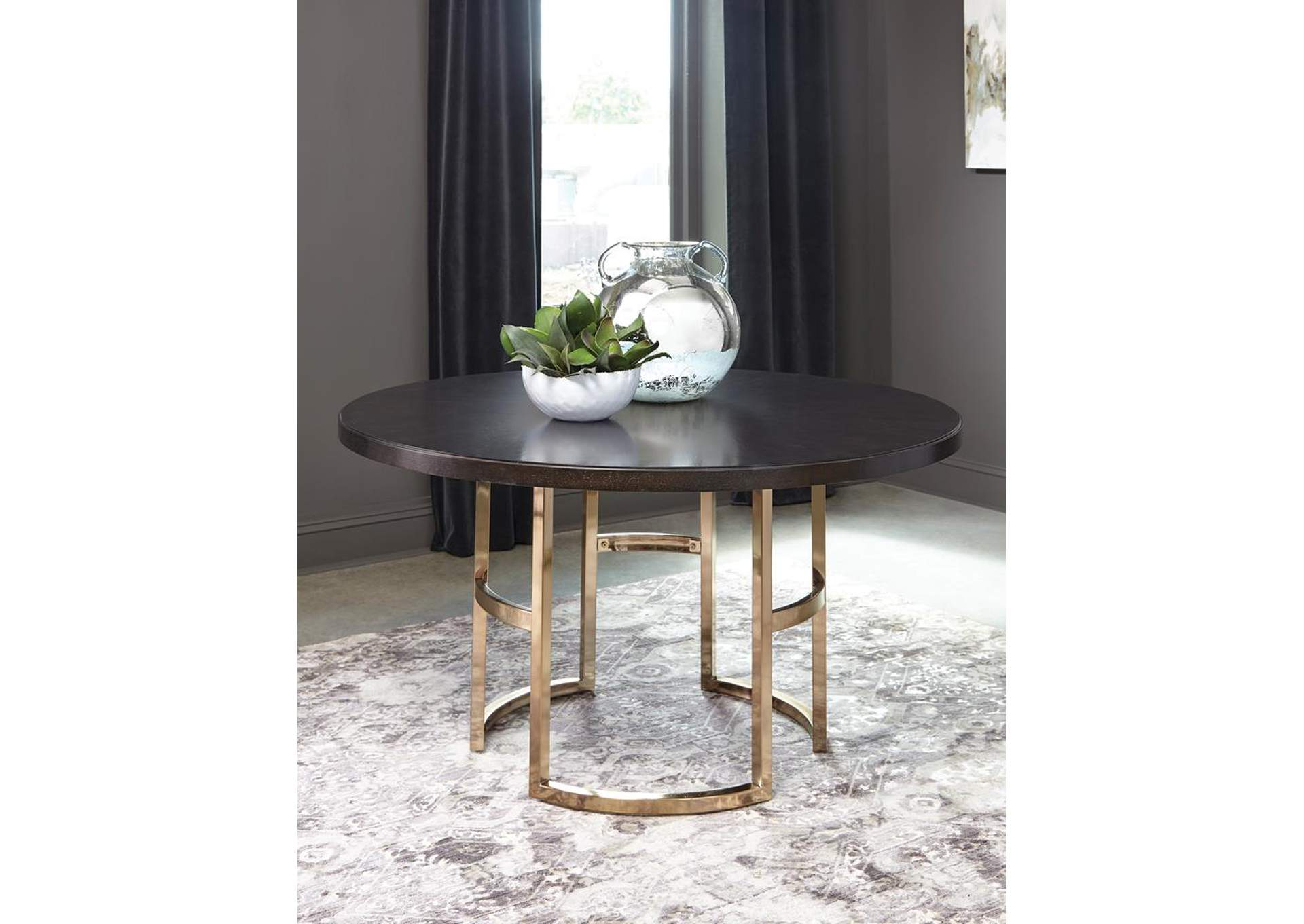 Granite Gray Round Dining Table,Coaster Furniture