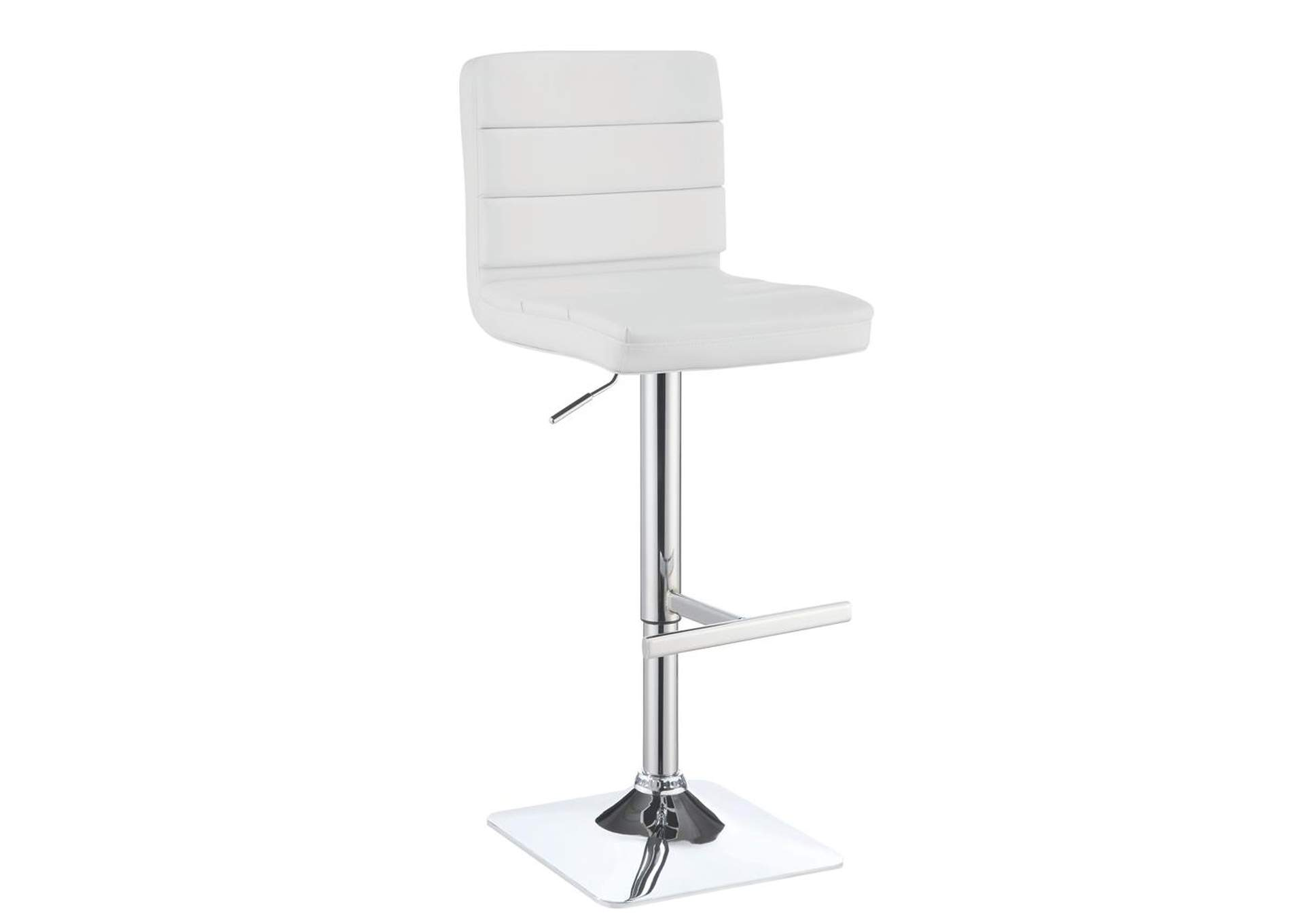 Adjustable White Bar Stool w/Chrome Finish (Set of 2),Coaster Furniture