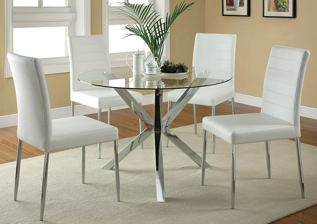 Glass Top Dining Table w/4 White & Chrome Chairs,Coaster Furniture
