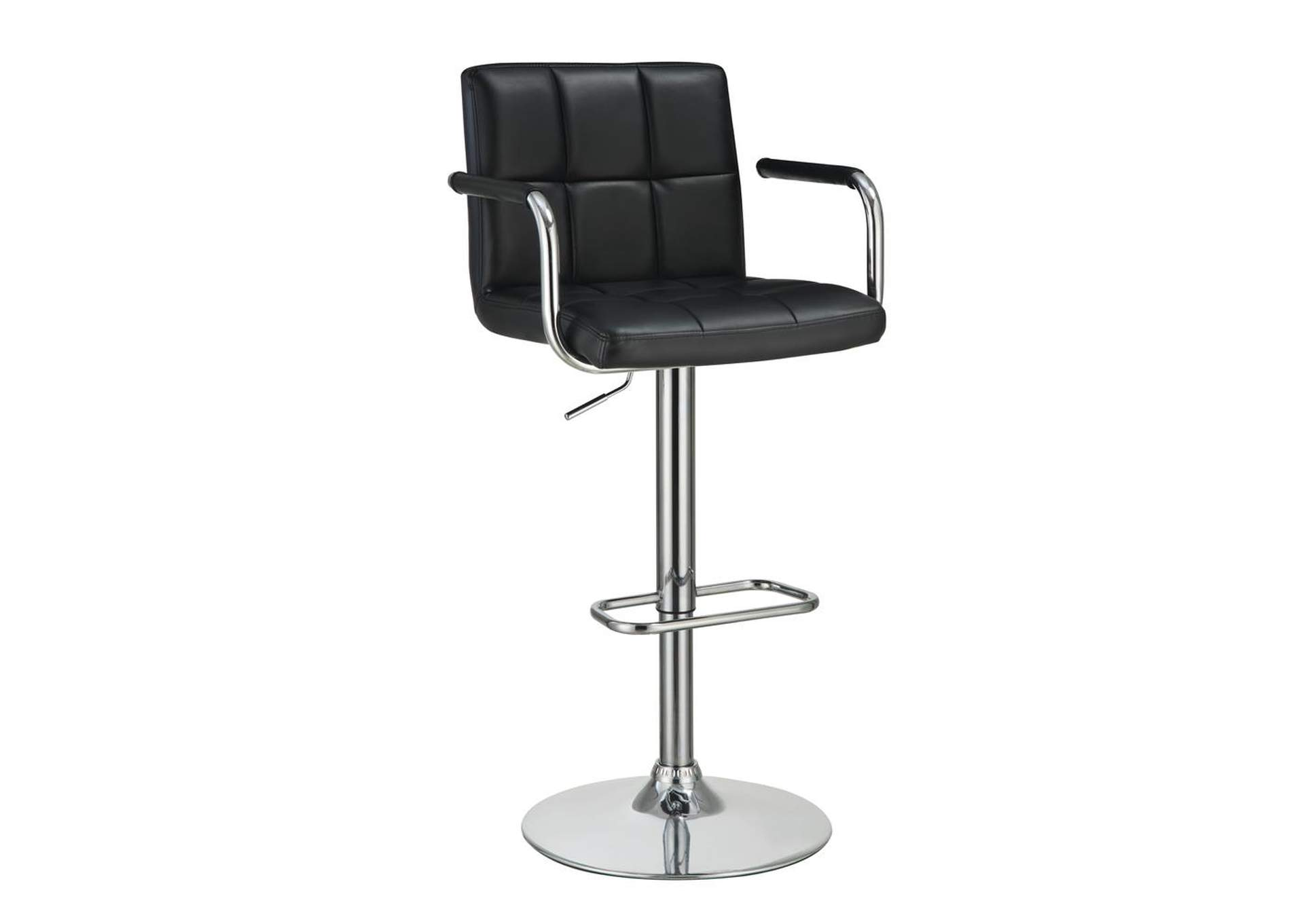 Black and Chrome Adjustable Bar Stool w/Arms,Coaster Furniture