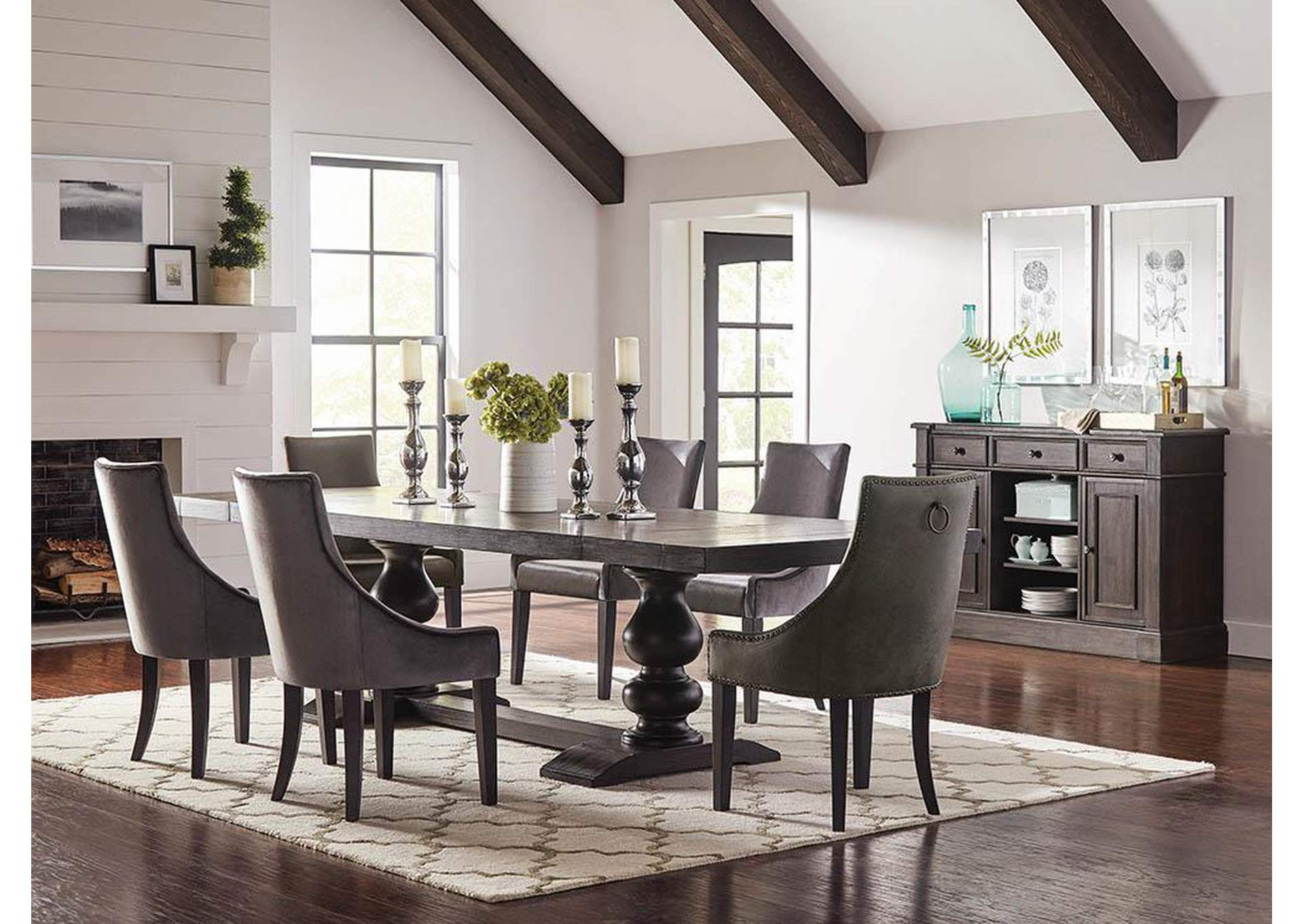 Phelps Antique Noir Dining Table,Coaster Furniture