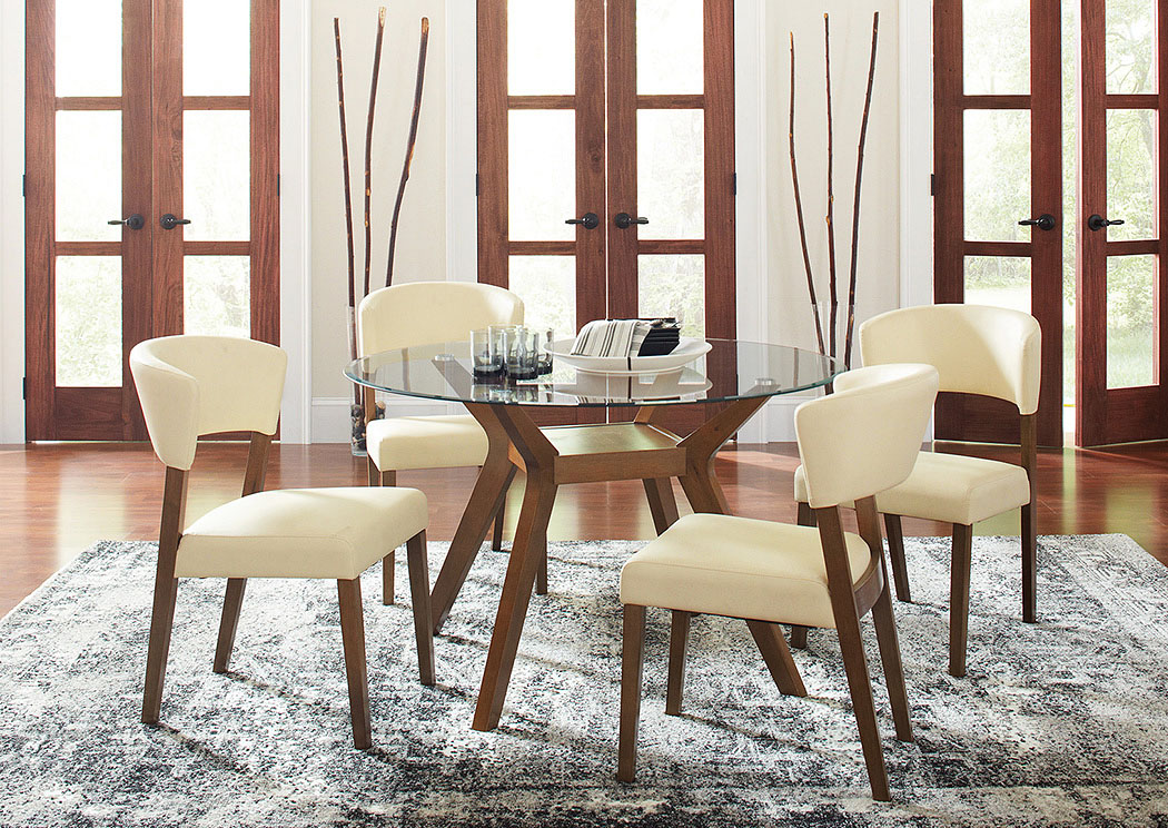 Paxton Nutmeg Round Glass Top Dining Table w/4 Side Chairs,Coaster Furniture