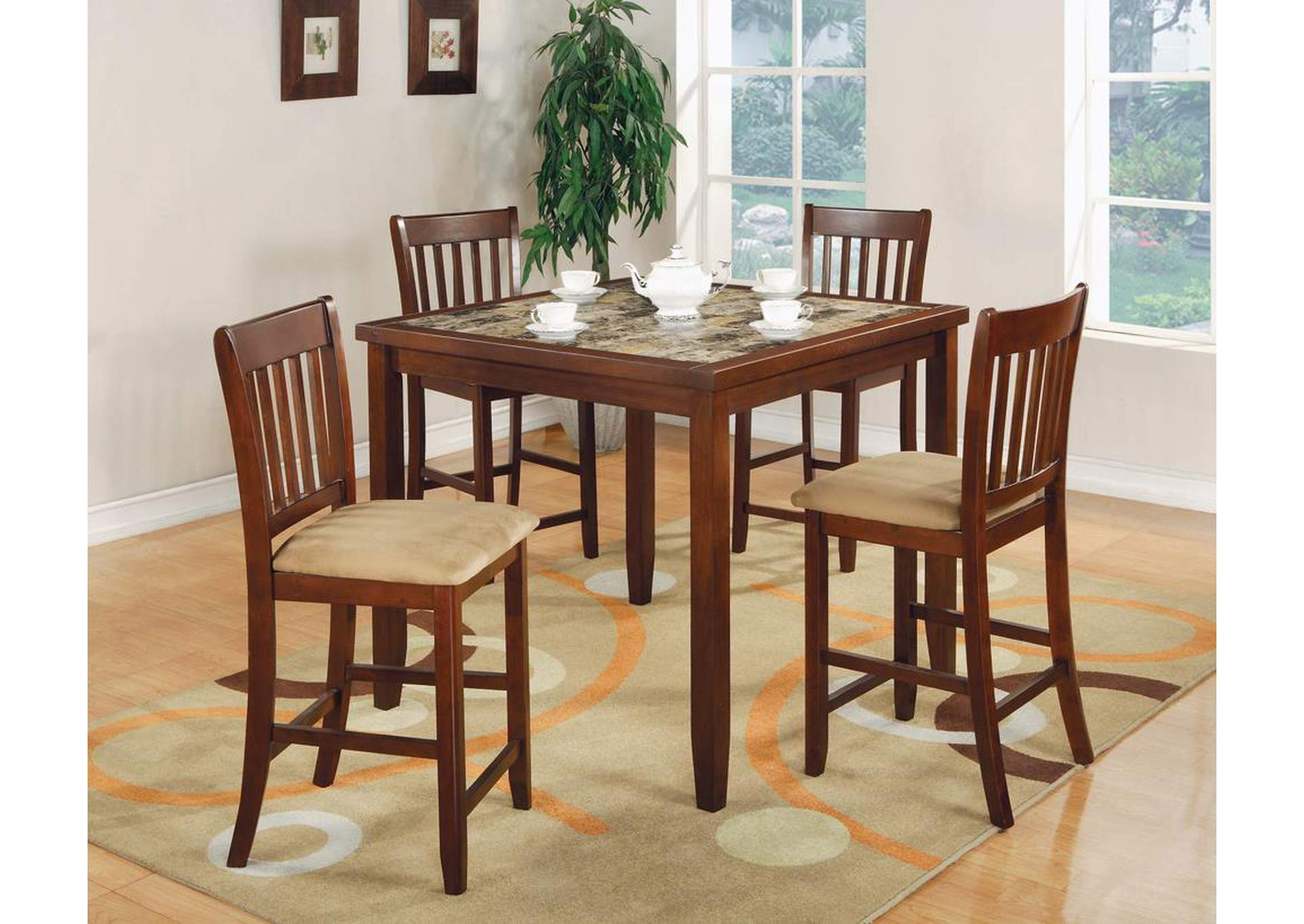 Five-Piece Cherry Counter Dining Set,Coaster Furniture