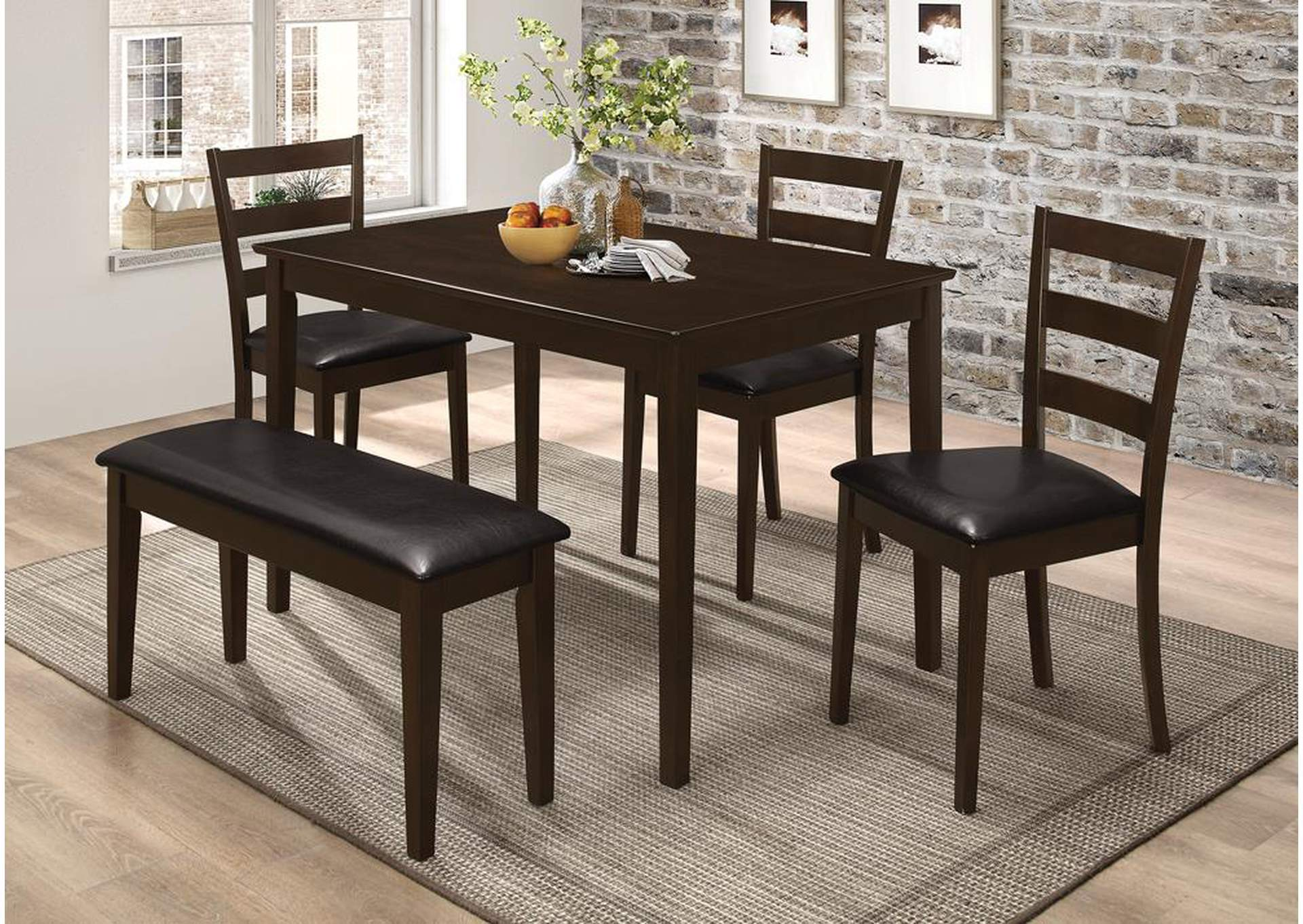 Dark Brown & Cappuccino 5 Piece Dining Set,Coaster Furniture