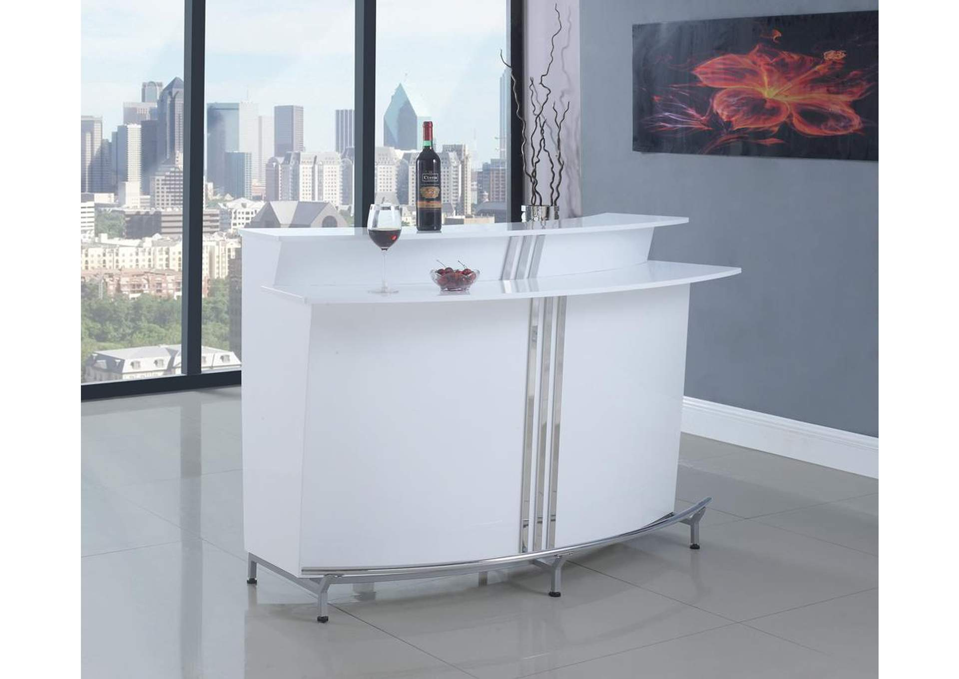 White Bar Unit w/Stemware Racks,Coaster Furniture