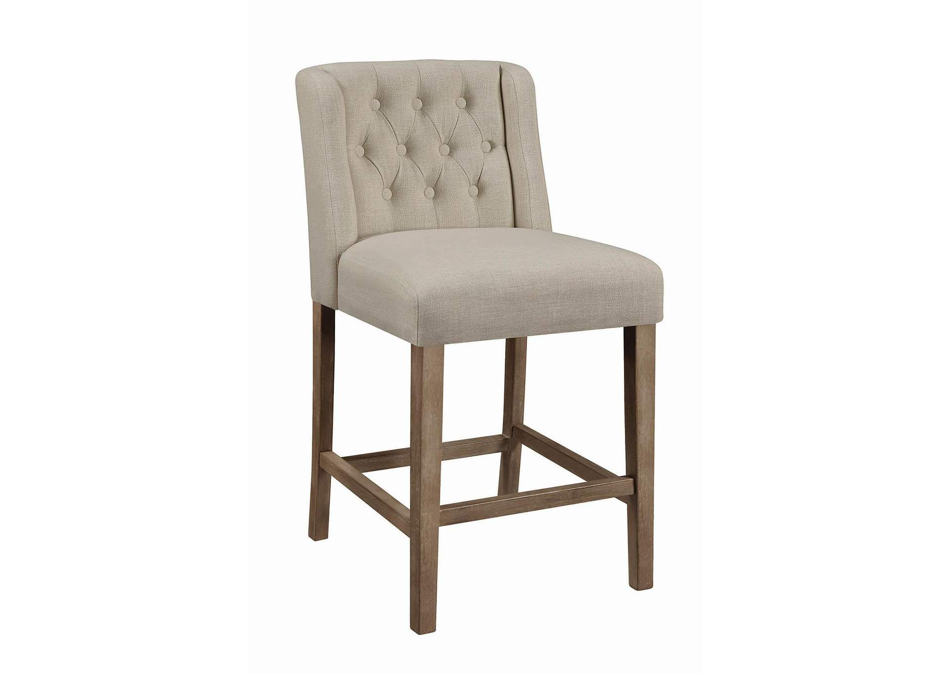 Beige & Pine Upholstered Counter Height Stool (2-Pack),Coaster Furniture