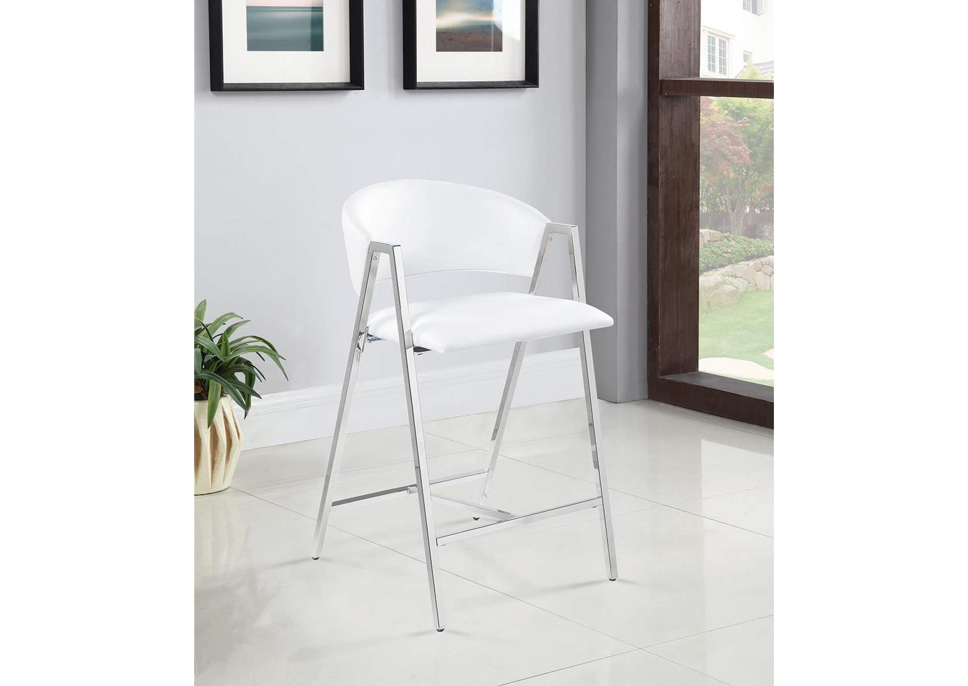 White and Chrome Counter Stool (Set of 2),Coaster Furniture