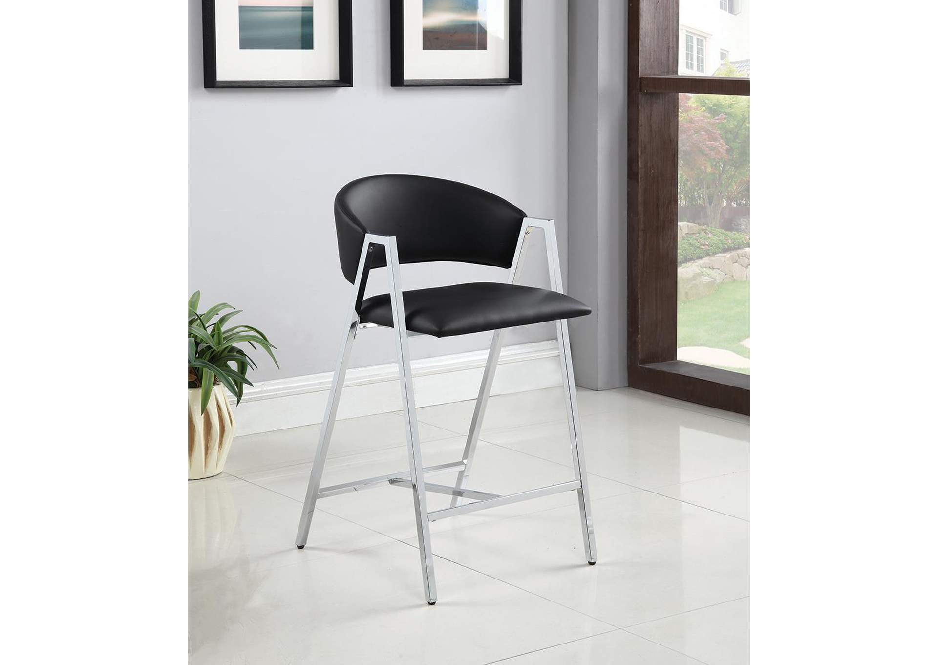 Black and Chrome Counter Stool (Set of 2),Coaster Furniture