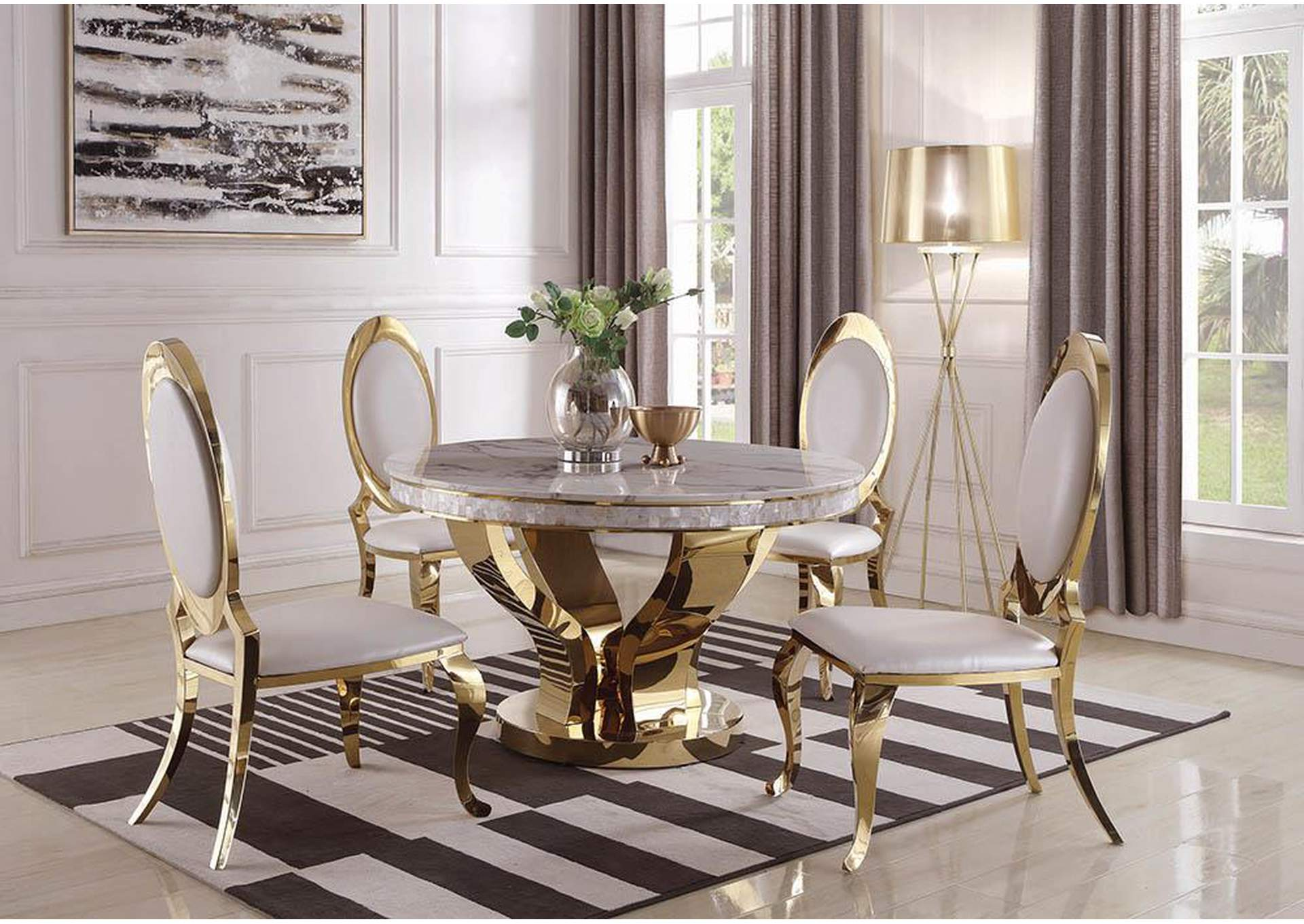 Kendall gold round ivory top dining table w 4 dining chairscoaster furniture
