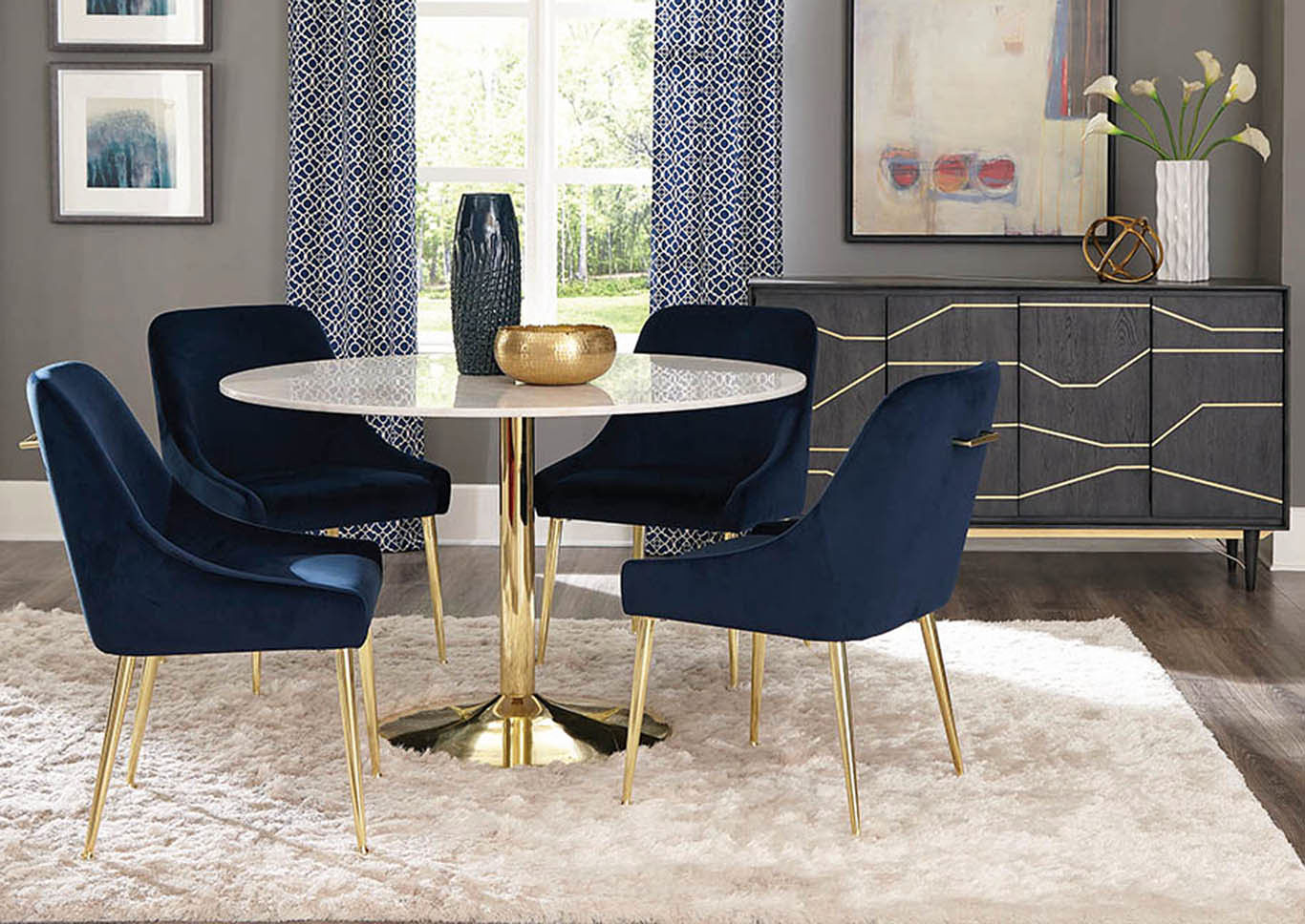 White and Gold Dining Table,Coaster Furniture