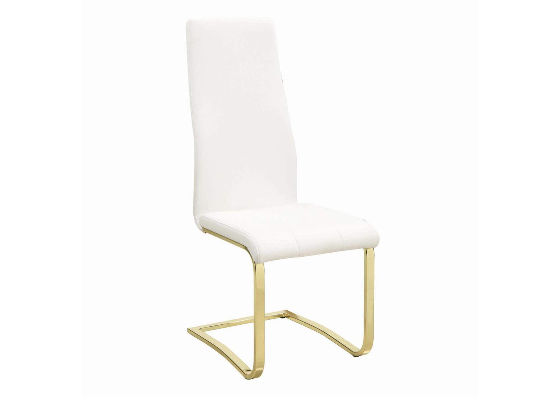 Chanel White and Rustic Brass Side Chair (Set of 4),Coaster Furniture