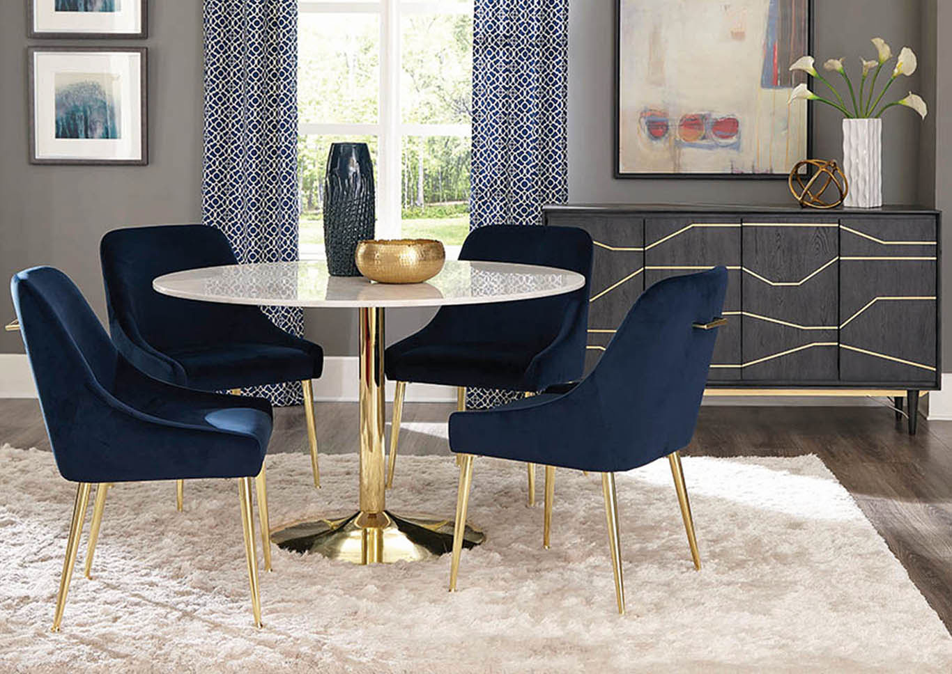 Dark Ink Blue Dining Chair (Set of 2),Coaster Furniture