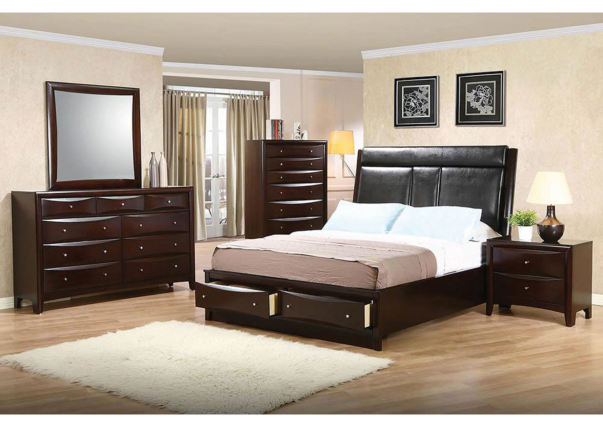 Phoenix Black & Cappuccino Eastern King Bed,Coaster Furniture