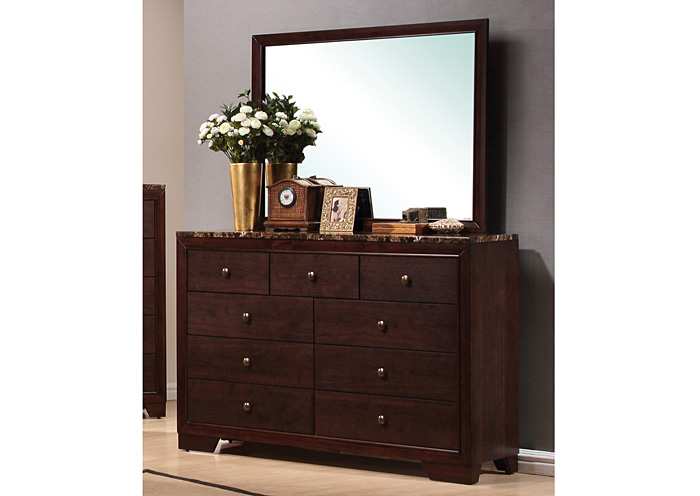 Conner Walnut Dresser w/Mirror,Coaster Furniture