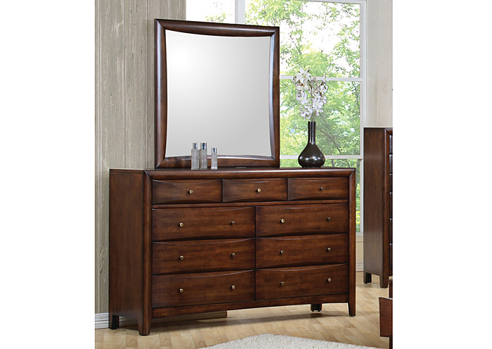 Hillary Walnut Dresser w/Mirror,Coaster Furniture