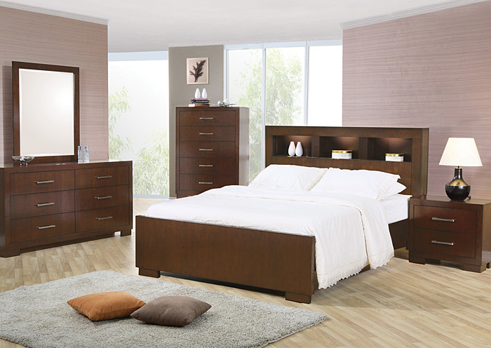 Jessica Cappuccino California King Bed w/Dresser & Mirror,Coaster Furniture