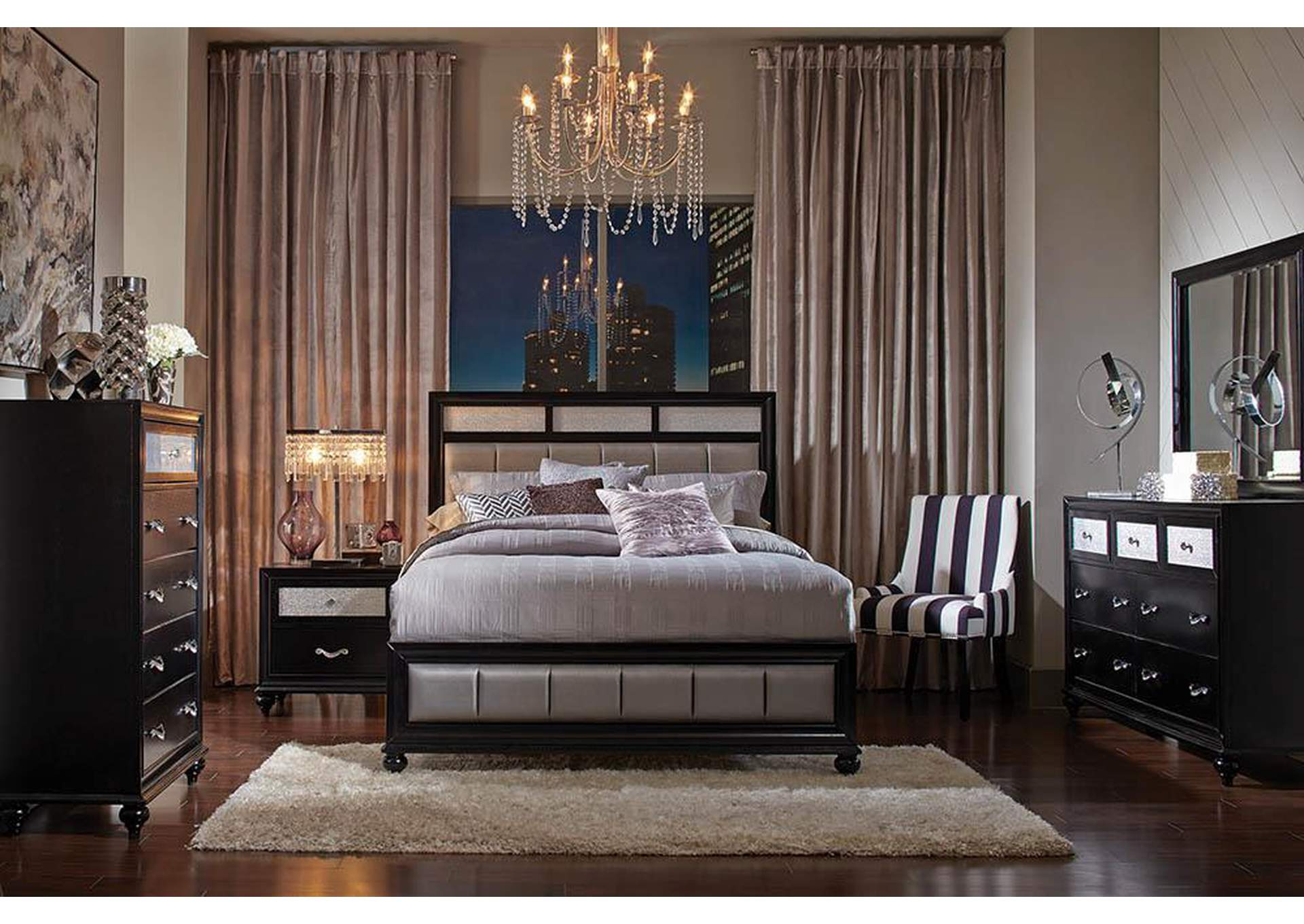 Barzini Black Queen Bed,Coaster Furniture