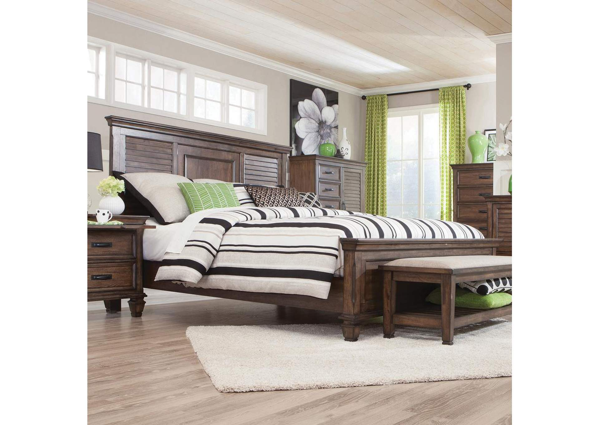 Franco Burnished Oak Queen Bed,Coaster Furniture