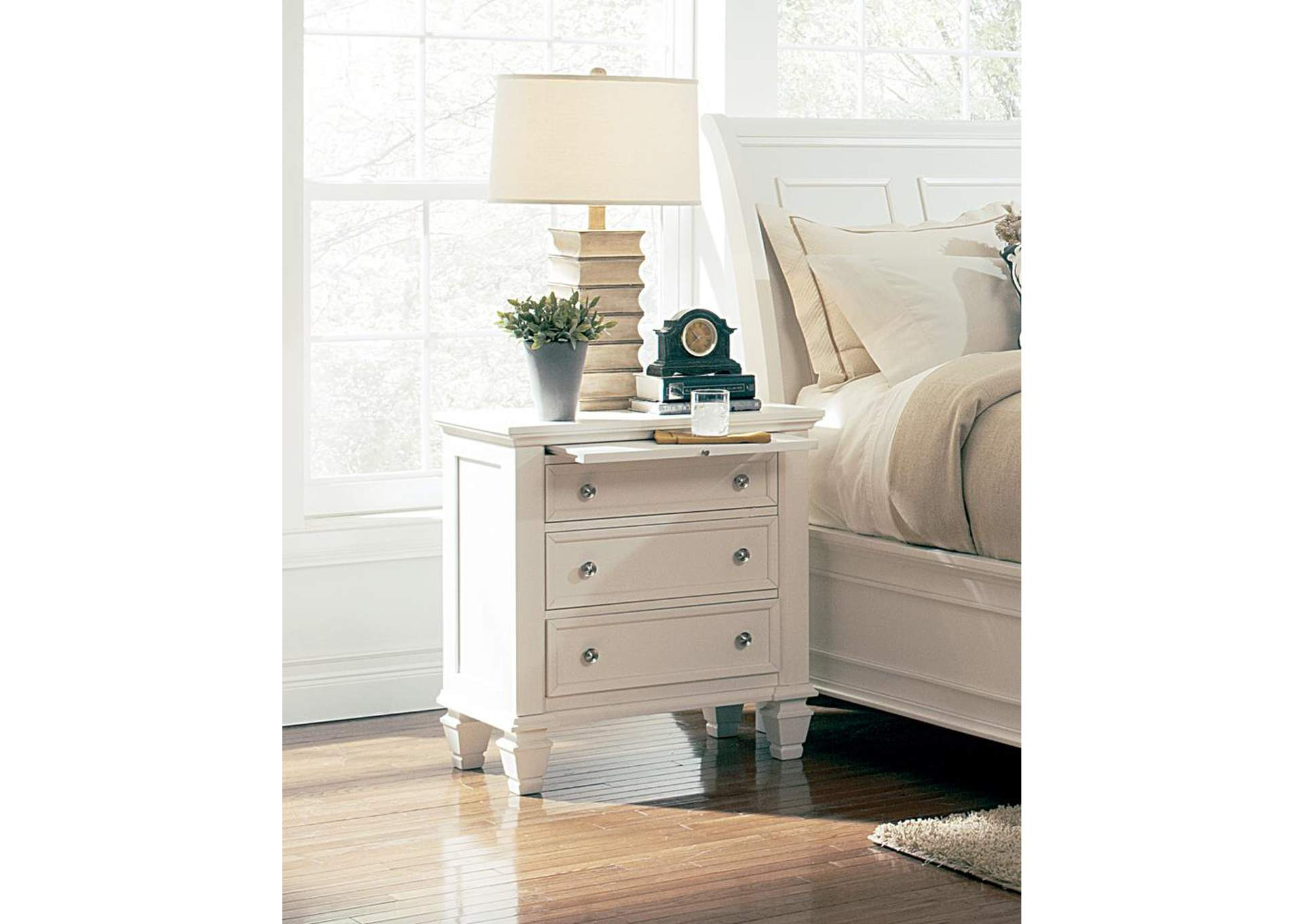 Sandy Beach White 3 Drawers Night Stand,Coaster Furniture