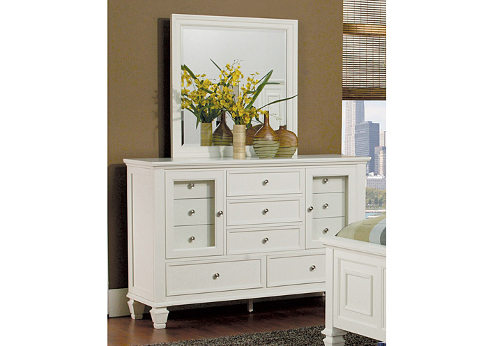 Sandy Beach White Glenmore Dresser w/Mirror,Coaster Furniture